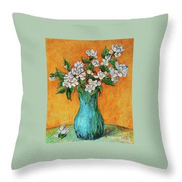 Jasmine Flowers In A Blue Pot Throw Pillow