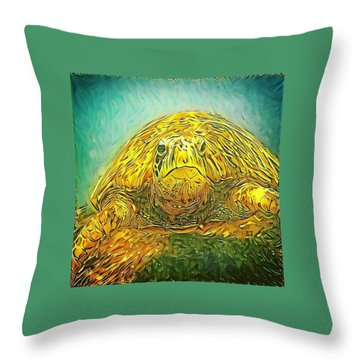 Throw Pillow featuring the digital art Jasmine The Turtle by Erika Swartzkopf