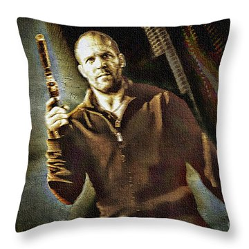 Jason Statham - Actor Painting Throw Pillow