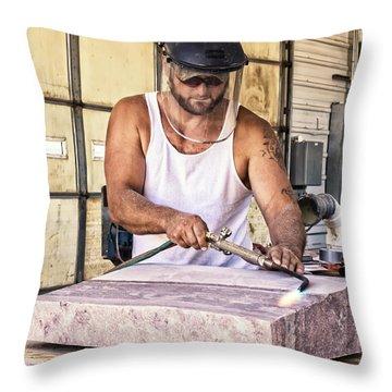 Jasper Stone Worker Throw Pillow