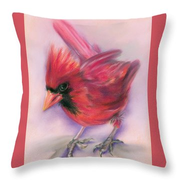 Jaunty Redbird Cardinal Throw Pillow