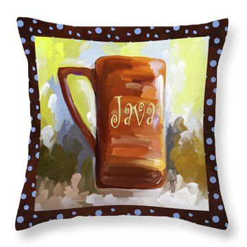 Java Coffee Cup With Blue Dots Throw Pillow by Jai Johnson