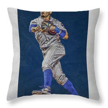 Javier Baez Chicago Cubs Art Throw Pillow