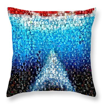 Jaws Horror Mosaic Throw Pillow