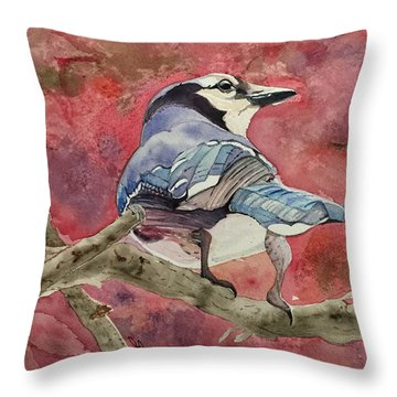 Jay In The Japanese Maple Throw Pillow