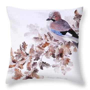 Jay On A Dried Oak Branch Throw Pillow