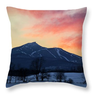 Jay Peak Winter Twilight Throw Pillow