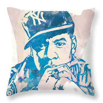 Jay-z  Etching Pop Art Poster Throw Pillow by Kim Wang