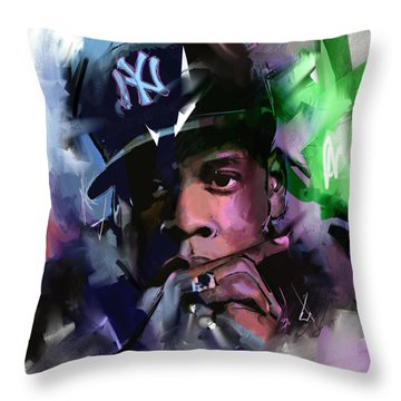 Throw Pillow featuring the painting Jay Z by Richard Day