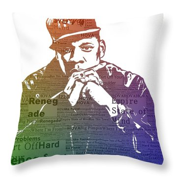 Jay Z Typography Throw Pillow by Dan Sproul