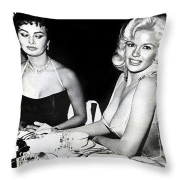 Jayne Mansfield Hollywood  Actress Sophia Loren 1957 Throw Pillow