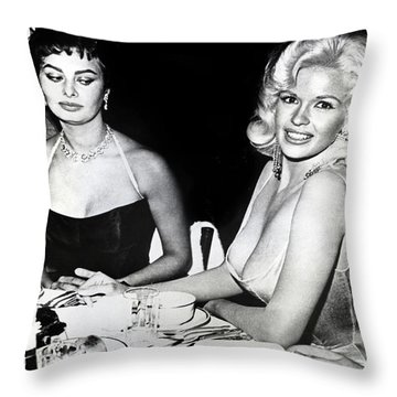 Jayne Mansfield Hollywood  Actress Sophia Loren 1957 Throw Pillow