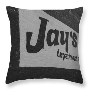 Jay's Department Store In Bw Throw Pillow