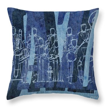 Jazz 30 Orchestra Blue Throw Pillow