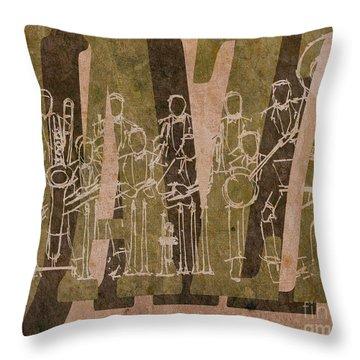 Jazz 30 Orchestra Brown Throw Pillow