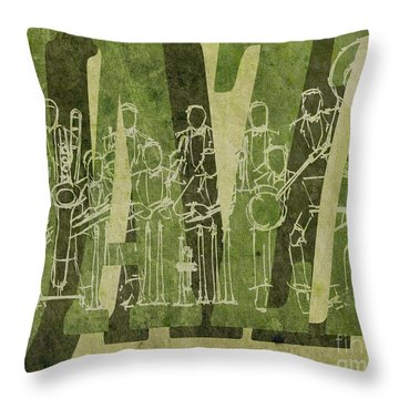 Jazz 30 Orchestra Green Throw Pillow