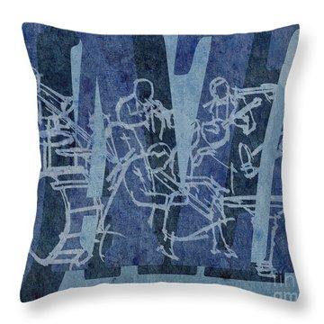 Jazz 32 Hot Seven - Blue Throw Pillow