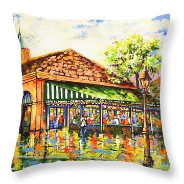 Jazz At Cafe Du Monde Throw Pillow