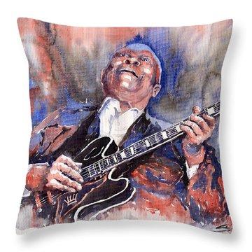 Jazz B B King 05 Red A Throw Pillow by Yuriy  Shevchuk