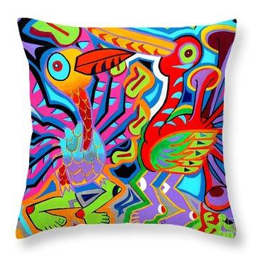 Jazz Birds Throw Pillow by Ed Tajchman