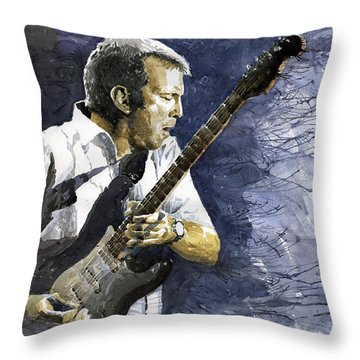 Jazz Eric Clapton 1 Throw Pillow by Yuriy  Shevchuk