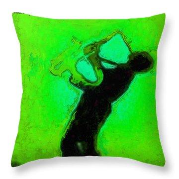 Jazz Festival Green - Da Throw Pillow