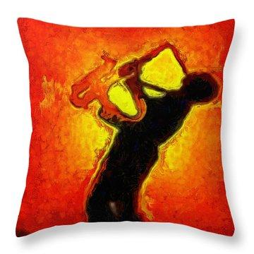 Jazz Festival Orange - Da Throw Pillow