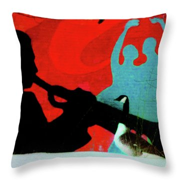 Jazz Goose Throw Pillow by Bill Cannon