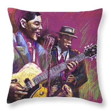 Jazz Guitarist Duet Throw Pillow by Yuriy  Shevchuk