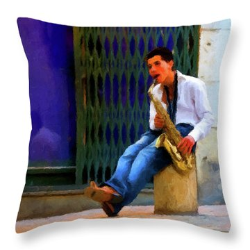 Throw Pillow featuring the photograph Jazz In The Street by David Dehner