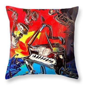 Jazz Piano Throw Pillow by Mark Kazav