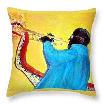 Jazzy Trumpet Player Throw Pillow