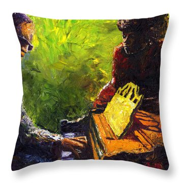 Jazz Ray Duet Throw Pillow by Yuriy  Shevchuk