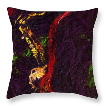 Jazz Red Saxophonist Throw Pillow by Yuriy  Shevchuk