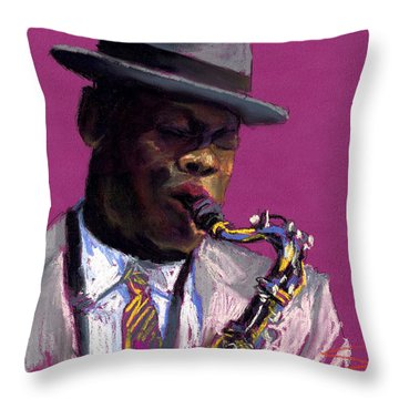 Jazz Saxophonist Throw Pillow by Yuriy  Shevchuk