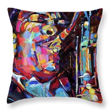 Jazz Trane Throw Pillow by Debra Hurd