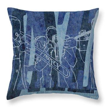 Jazz Trio 33 - Blue Throw Pillow