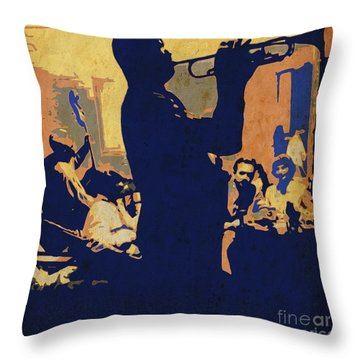 Jazz Trumpet Player Throw Pillow