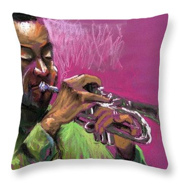 Jazz Trumpeter Throw Pillow by Yuriy  Shevchuk