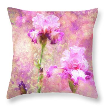 Jazzy Irises Throw Pillow