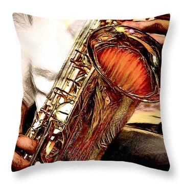 Jazzy Sax Throw Pillow