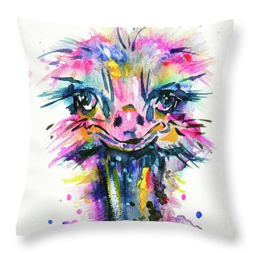 Throw Pillow featuring the painting Jazzzy Ostrich by Zaira Dzhaubaeva