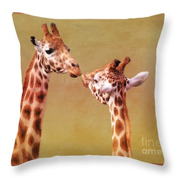 Je T'aime Giraffes Throw Pillow by Terri Waters