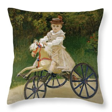 Throw Pillow featuring the painting Jean Monet On His Hobby Horse           by Claude Monet