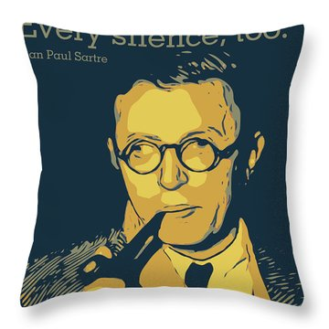 Jean Paul Sartre Throw Pillow