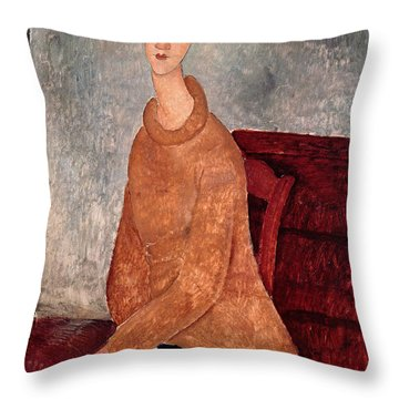 Jeanne Hebuterne In A Yellow Jumper Throw Pillow by Amedeo Modigliani
