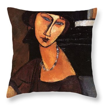 Jeanne Hebuterne With Hat And Necklace Throw Pillow