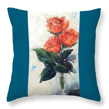 Jeannie's Roses Throw Pillow