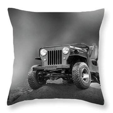 Throw Pillow featuring the photograph Jeep Bw by Charuhas Images