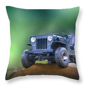 Throw Pillow featuring the photograph Jeep by Charuhas Images
